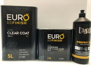 European Clear Coat 2k 2 1 Mix 2 1 Voc 7 5l Kit High Gloss Free Compound 1kg