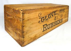 Late 19th Early 20th Cent Vint Glove Brand Rubbers Lg Wooden Box Crate Boston Ma