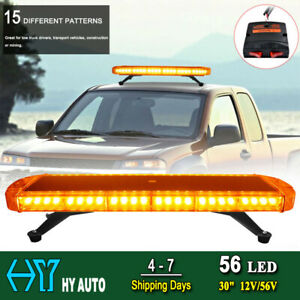30 56 Led Car Emergency Warning Tow Truck Roof Strobe Flash Light Amber Yellow