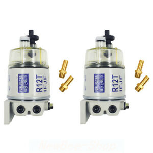 2pcs Diesel Fuel Filter Water Separator R12t For Marine Spin on Housing 120at