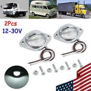 2x 3 Led License Plate Light Chrome 12v 24v 0 5w 2 Wire For Car Truck Trailer