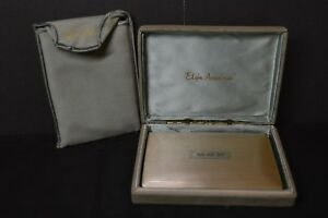 Vintage Elgin American Sterling Silver Cigarette Case W Box Protective Pouch