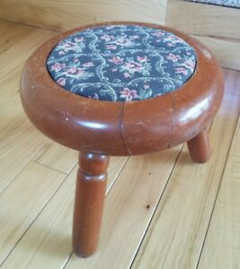 Antique Victorian Foot Stool Upholstered Floral Solid Distressed Wood