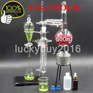 New Glass Essential Oil Steam Distilling Apparatus Hydrosol Distillation Kit Too