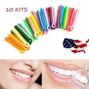 10 Dental Orthodontic Multi Color Stick Ligature Ties Rubber Bands Rings Elastic