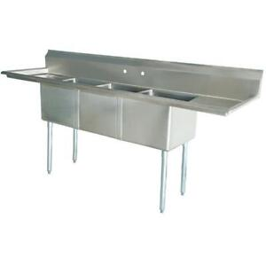 Stainless Steel 3 Compartment Sink 90 X 27 With 2 18 Drainboards
