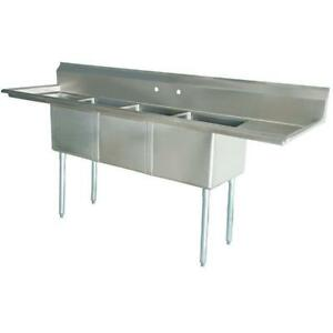 Stainless Steel 3 Compartment Sink 74 X 22 With 2 14 Drainboards