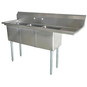 Stainless Steel 3 Compartment Sink 75 X 27 With 18 Right Drainboard