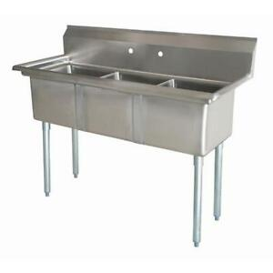 Stainless Steel 3 Compartment Sink 65 5 X 26 No Drainboards