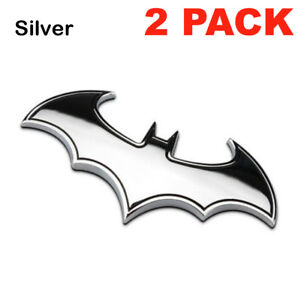 2 Pack 3d Metal Batman Dark Knight Batwing Sticker Decal Emblem Badge Silver