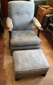 Vintage Style Upholstered Carved Oak Arm Chair Ottoman