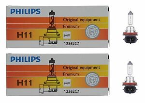 2x Germany Philips H11 High Quality Vision Halogen Light Bulb Lamp Low High Beam