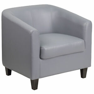 Flash Furniture Gray Leather Office Guest Chair Reception Chair