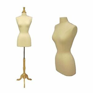 New White Female Dress Form Size 6 8 Medium W triple Wooden Base Solid Foam J