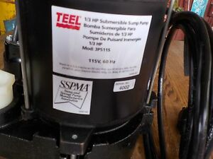 Teel 1 3 Hp Cast Iron Base Auto Submersible Sump Pump Diaphragm Switch Type