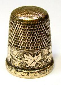 Antique Simons Brothers Gold Thimble Wild Grapes Leaves Monogram B C 1900s