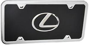 Lexus 3d Logo Black License Plate With Chrome Frame Kit