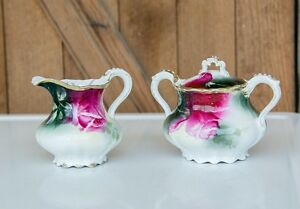 Antique Sugar Bowl With Lid And Creamer Marked Weimar Germany