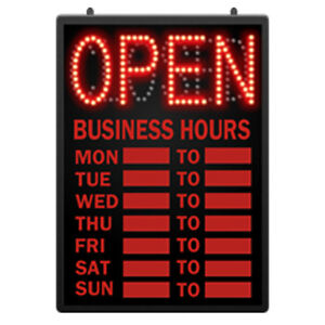 Retails Led Open Closed Sign With Hour 16 5 8 In W X 1 5 8 In D X 23 In
