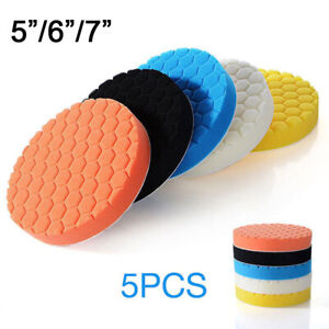 8pcs Car Polisher 4 5 6 7 Sponge Polishing Waxing Buffing Pads Kit Compound