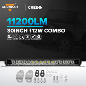 Auxbeam 30 Inch 112w Led Light Bar Combo With Amber Atmosphere Light Single Row