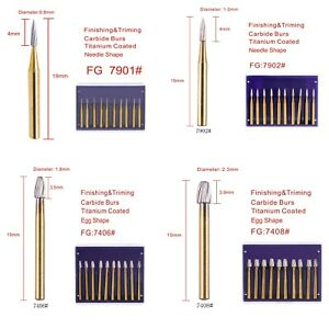 Dental Trimming Finishing Gold Burs Tungsten Carbide Fg 7901 7902 7406 7408