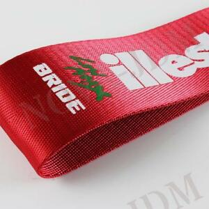 Jdm High Strength Bride Illest Tow Strap For Front Rear Bumper Towing Hook Red