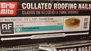 Wire Collated Electro Galvanized Roofing Coil Nail 3 4 Inch X 120 7200 Count