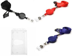 Retractable Neck Strap Lanyard With Reel Portrait Security Id Pass Card Holder