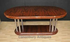 Art Deco Dining Table Rosewood Chrome Legs Modernist Furniture