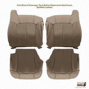 1999 2000 Chevy Silverado 1500 2500 Front Row Bottom tops Vinyl Covers Med Tan