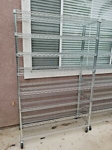 5 Tier Shelf Adjustable Steel Metal Wire Shelving Storage Rack On Casters
