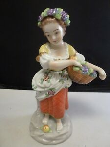 Antique Sitzendorf Allegorical Four Seasons Fall Figurine Girl With Fruit Basket