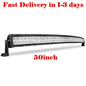 Cree Led Light Bar 50 Inch 480w 9d Curved Off Road Driving Jeep Bumper Truck 52