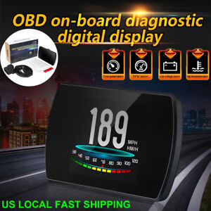Car Head Up Display Obd2 Hud Projector Mph Km H Rpm Speed Warning Fuel Meter Us