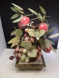 Antique Chinese Lucky Jade Apple Peach Bonsai Tree In Green Pot Grapes