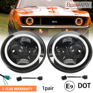 7 Round Led Headlights Halo Ring Drl Hi lo Beam For Chevrolet G10 20 30 C10 20