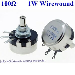 50 Pcs 1w 100 Ohms Wirewound Potentiometers Volume Control Pots 1 Watt