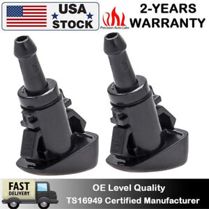 2pc Windshield Washer Wiper Water Spray Nozzle For Chrysler 300c Jeep Dodge Ram