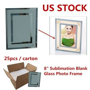 Usa 25pcs 8 Sublimation Heat Press Blank Glass Photo Frame Double Mirror Border