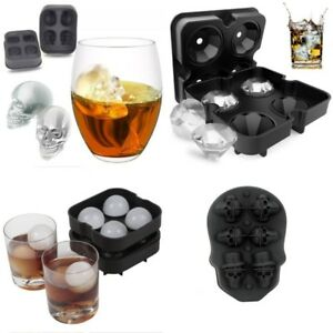 Ice Ball Maker Round Diamond Skull Tray Mold Cube Whiskey Ice Cocktails Silicone