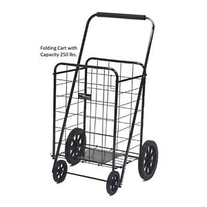 Large Shopping Cart Collapsible Folding Rolling Heavy Duty Grocery Laundry 250lb