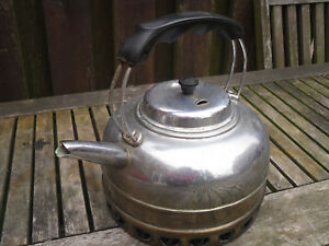 Vintage Chrome On Copper Large Kettle Great Prop Display Planter