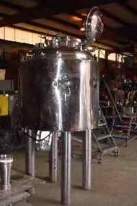 165 Gallon 750 Liter 316 Stainless Steel Jacketed Reactor W Bottom Mount Mixer