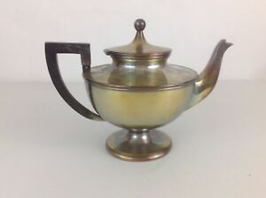 Vntg Antique Barbour Silver Co Nickel Silver Teapot Wooden Handle Pedestal Base