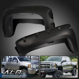 For 07 13 Chevy Silverado 1500 69 Short Bed Black Fender Flares Pocket Style