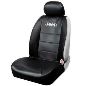 Official Licensed Jeep Logo Sideless Front Seat Cover Black For Car Suv