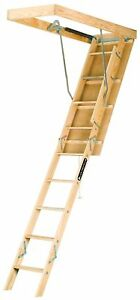Louisville Ladder S254p 250 pound Duty Rating Wooden Attic Ladder Fits 7 New