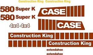 Case 580 Super K Loader Backhoe Construction King Decals Sticker Set Extendahoe