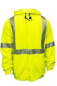National Safety Apparel C21hc05c3xl Class 3 Fr Hi vis Hooded Zip Front Sw New